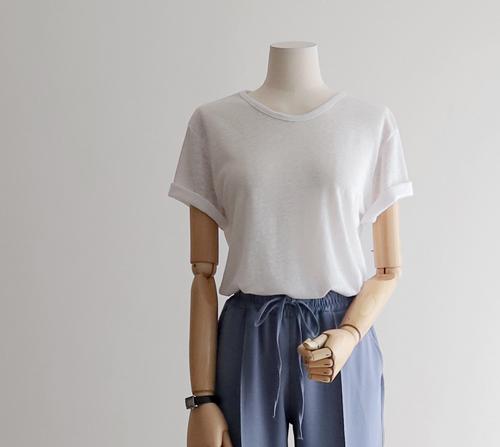 beige blanc-케미 베이직 린넨 V넥 티셔츠]♡韓國女裝上衣