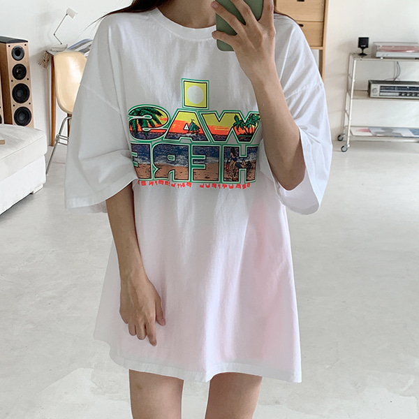 bonzishop-[무료배송]히어 박시핏 반팔 티셔츠 - t(남녀공용)♡韓國女裝上衣
