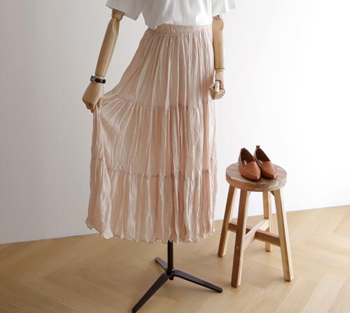 beige blanc- 블러썸 링클 플레어 주름 스커트]♡韓國女裝裙