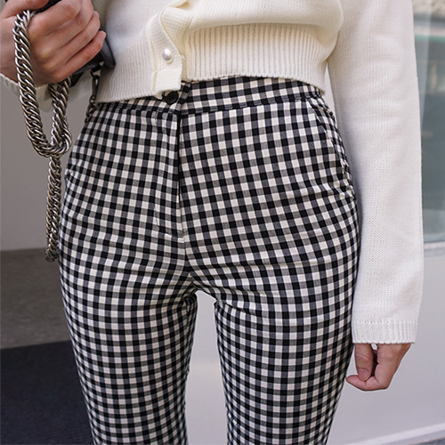 jnroh-[주문폭주]클리드 체크 스판 일자 슬랙스 (S,M)♡韓國女裝褲