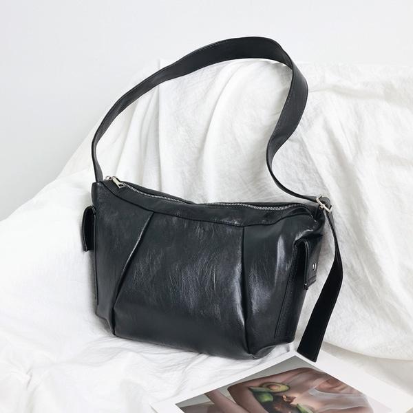 everytail-콤마 빈티지 레더 메신저백 (2color)♡韓國女裝袋