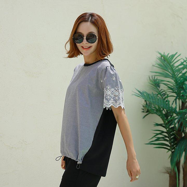 lemite-소매에 자수티♡韓國女裝上衣