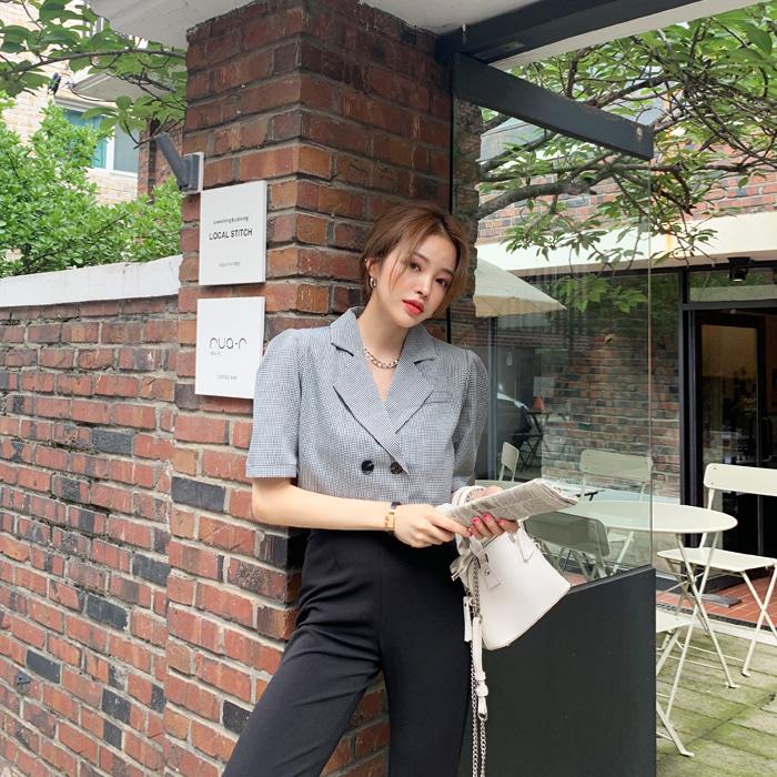 deepny-키들체크크롭자켓♡韓國女裝外套