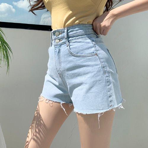 jnroh-콜리 투버튼 하이 A핏 연청 데님 숏팬츠♡韓國女裝褲