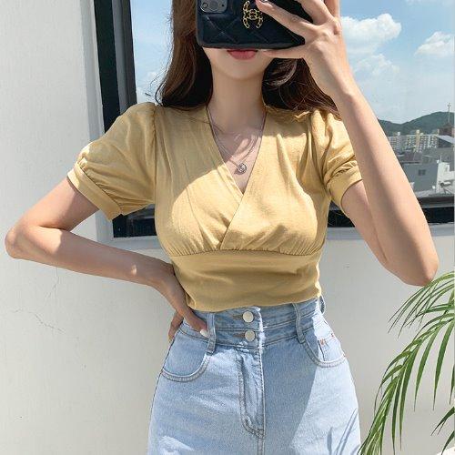 jnroh-(모달) 윌러 브이랩 셔링 퍼프소매 반팔 티셔츠 (아이보리,옐로우,블랙)♡韓國女裝上衣