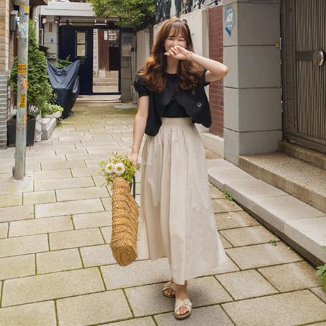 leelin-[[블랙]아일 물결 카라 블라우스 자켓[size:F(55~66)]]♡韓國女裝外套