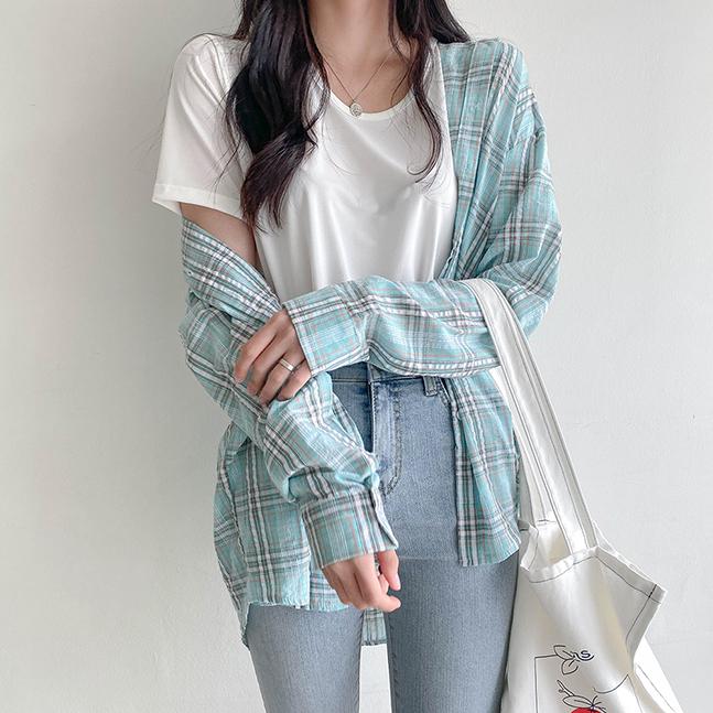 sonyunara-쁘띠 베이직핏 체크 셔츠 남방♡韓國女裝上衣