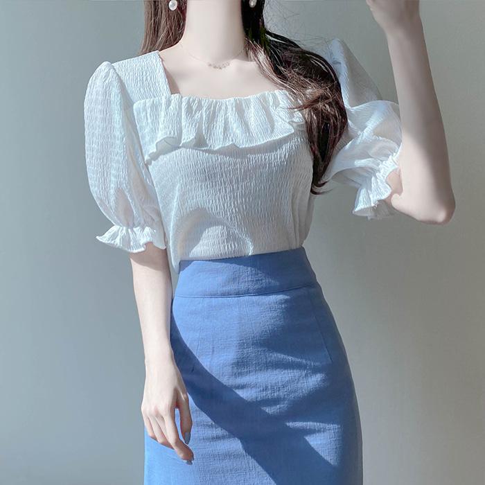 myfiona-루엘 프릴 스퀘어넥 엠보티 a1687 - 러블리 로맨틱 1위 쇼핑몰 피오나♡韓國女裝上衣