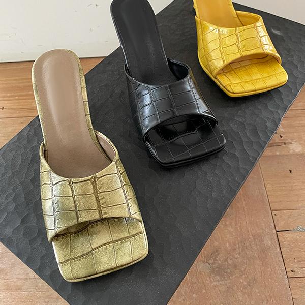 ode-[크로커 패턴 뮬 스퀘어토 힐]♡韓國女裝鞋
