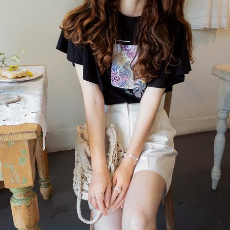leelin-[쥬시아 펄프린팅 썸머소매 티[size:F(55~66)]]♡韓國女裝上衣