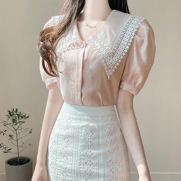 myfiona-로하엘 왕레이스카라 트윙클 블라우스 a1691 - 러블리 로맨틱 1위 쇼핑몰 피오나♡韓國女裝上衣