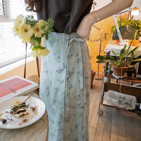 leelin-[내슈빌 드로우 플라워 랩스커트[size:F(55~66)]]♡韓國女裝裙