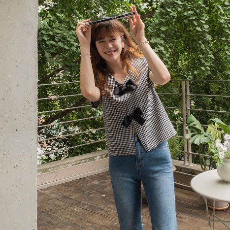 leelin-[첵스 리본체크 투웨이 반전 블라우스[size:F(55~66)] ]♡韓國女裝上衣