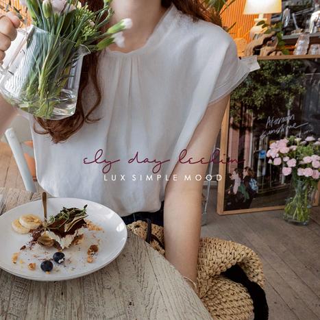 leelin-[케일리 넥배색 썸머린넨 블라우스[size:F(55~66)]]♡韓國女裝上衣