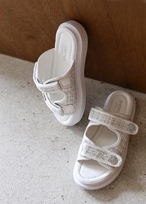 annanblue-[트위드 sandal]♡韓國女裝鞋