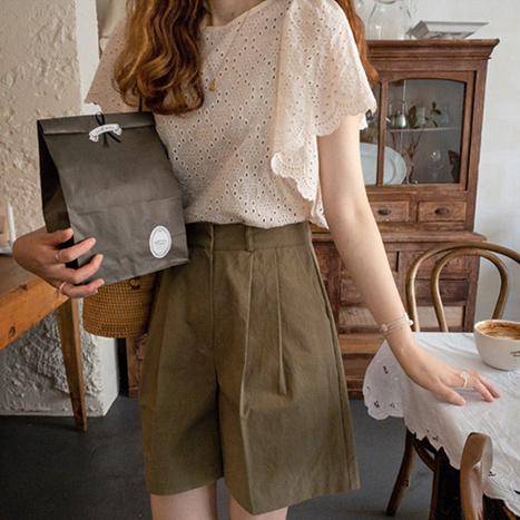 leelin-[맥컬리 펀칭자수 블라우스[size:F(55~66)]]♡韓國女裝上衣