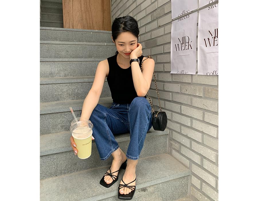 frombeginning-리본 슬렌더미들힐블로퍼  (3color)♡韓國女裝鞋