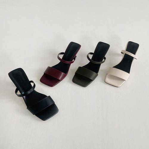 minibbong-프렌치 스트랩 뮬슬리퍼 (7cm)♡韓國女裝鞋
