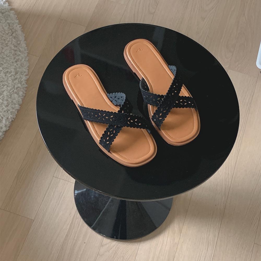 cherrykoko-[[Cle.] 카라멜 펀칭 플립플랍]♡韓國女裝鞋