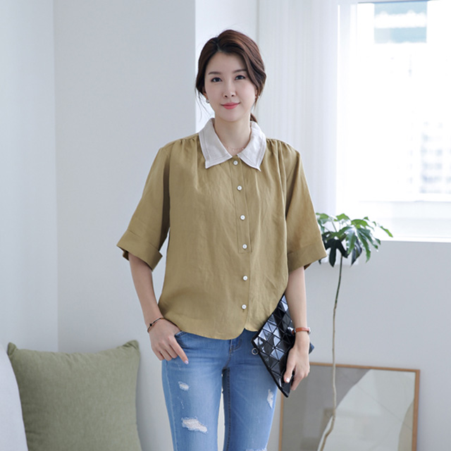 tiramisu-9424첼시린넨카라배색블라우스♡韓國女裝上衣