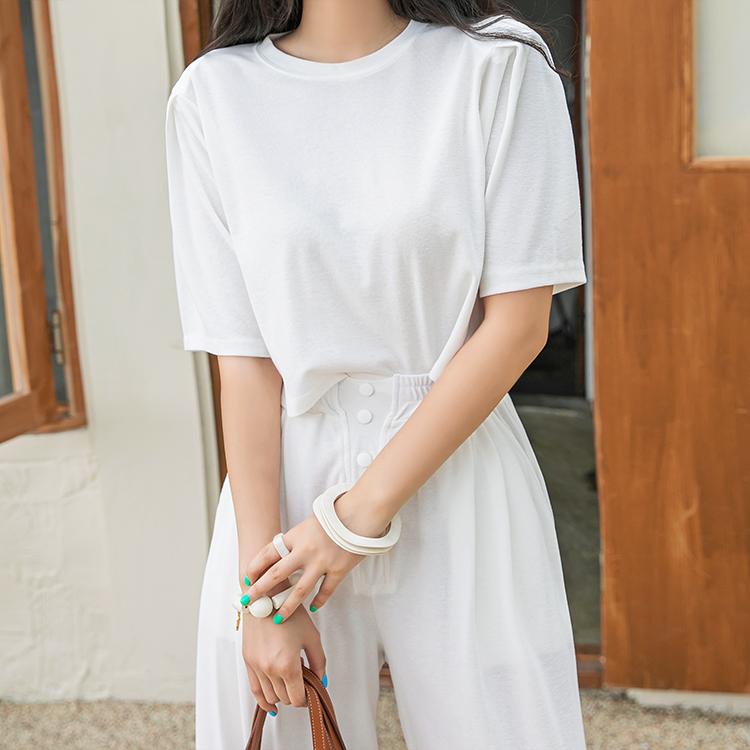 dint-[E2496 코벤 숄더 핀턱 하프 크롭 탑 ]Document♡韓國女裝上衣