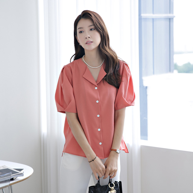tiramisu-9426베로핀턱퍼프주름블라우스♡韓國女裝上衣