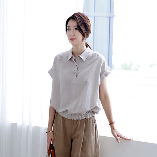 tiramisu-9427모던밑단밴딩블라우스♡韓國女裝上衣