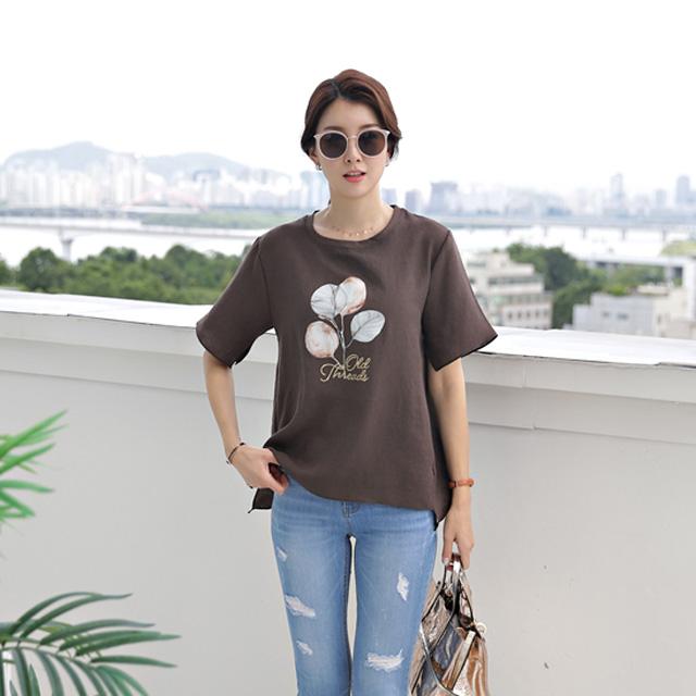 tiramisu-9410나뭇잎나염블라우스♡韓國女裝上衣