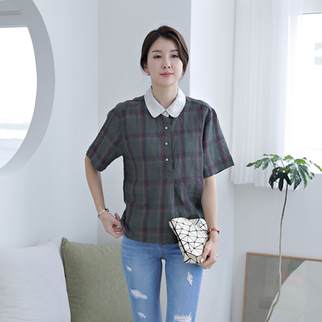tiramisu-9411버터링체크카라린넨남방♡韓國女裝上衣