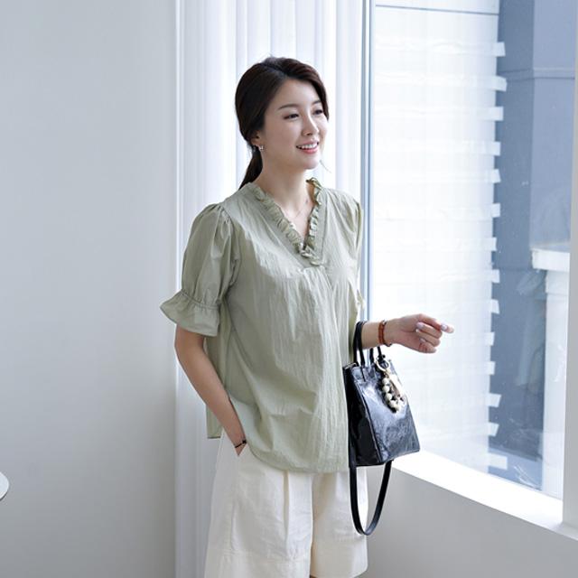 tiramisu-9408벨라셔링넥바스락블라우스♡韓國女裝上衣