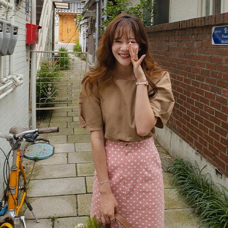 leelin-[풀하우스 물결 스퀘어 블라우스[size:F(55~66)]]♡韓國女裝上衣