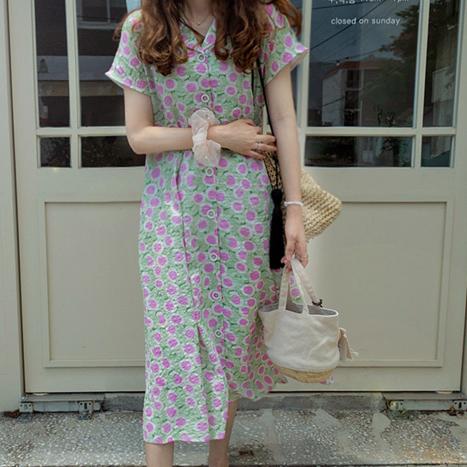leelin-[MADE LIN슈엔나꽃 싱그런 썸머 원피스[size:F(55~66)]]♡韓國女裝連身裙