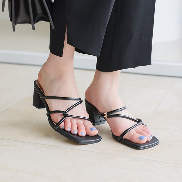 ode-[볼륨 꼬임 스트랩 슬리퍼힐]♡韓國女裝鞋