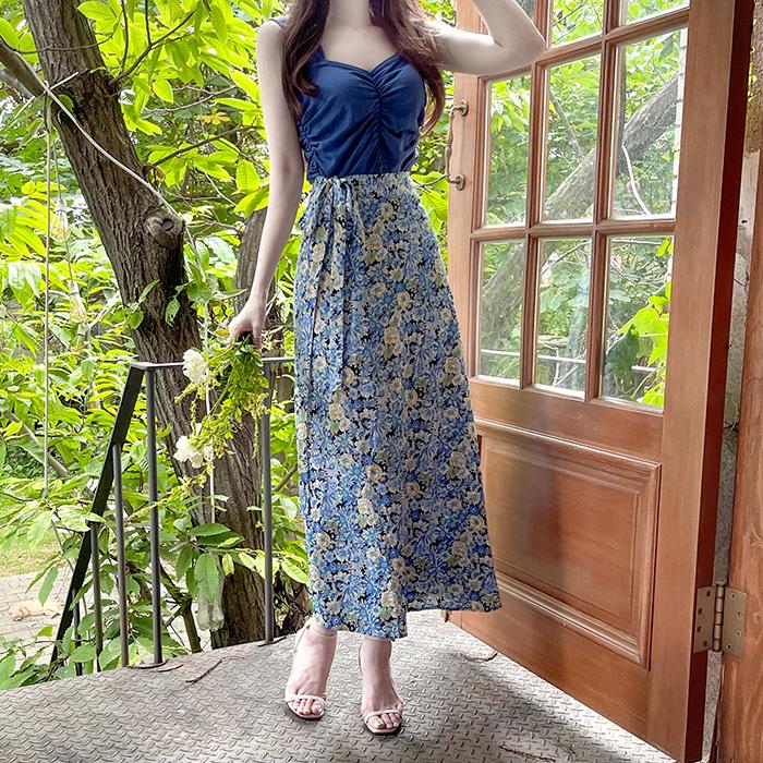 myfiona-(2종세트) 셔링탑과 플라워롱스커트 세트 a1697 - 러블리 로맨틱 1위 쇼핑몰 피오나♡韓國女裝套裝