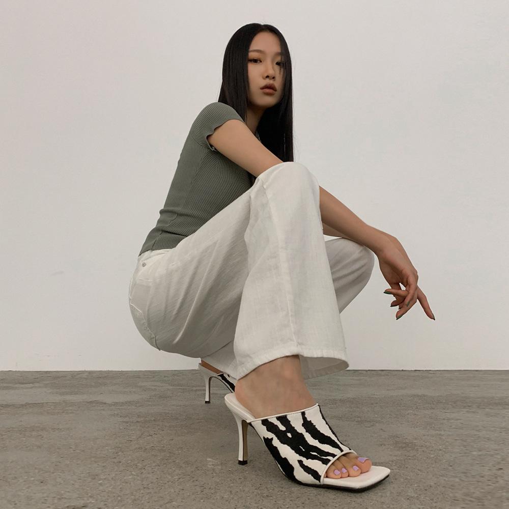 blackup-리아루 송치 오픈토뮬♡韓國女裝鞋