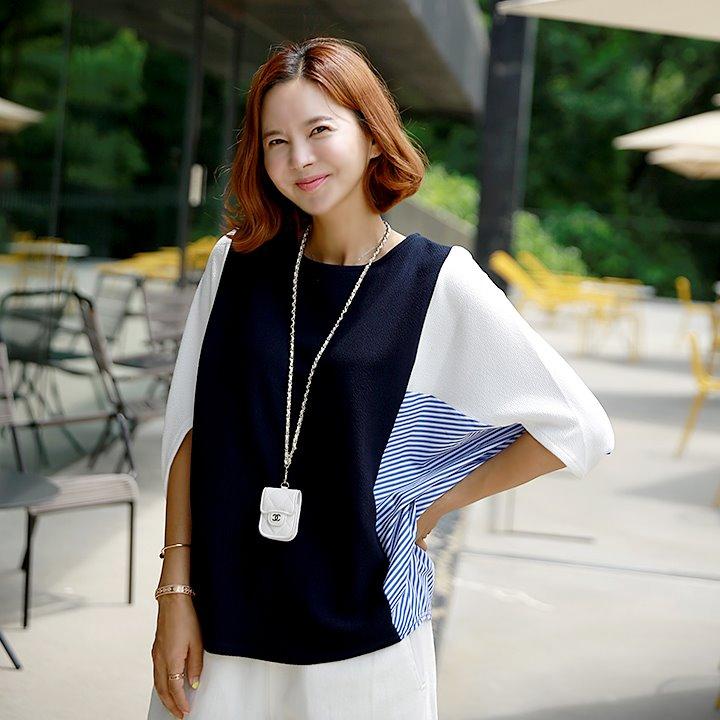 lemite-다양해 배색가오리(50%한정판매)♡韓國女裝上衣