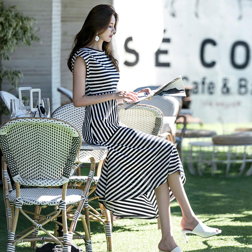 dint-[D3633 데일 스트라이프 에이라인 캡소매 언발 원피스(125th REORDER)]Document♡韓國女裝連身裙