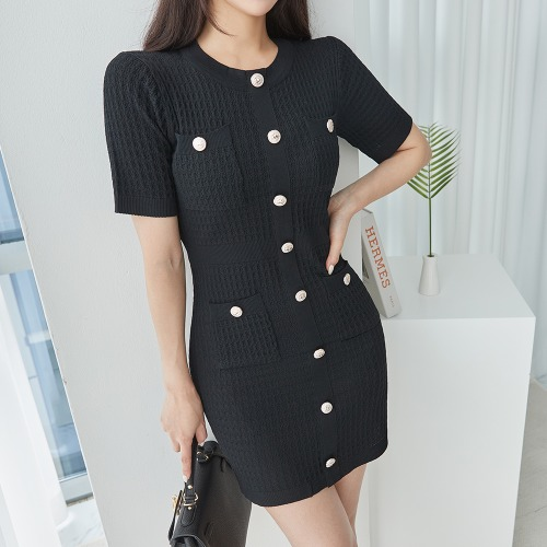 marlangrouge-골드버튼니트원피스♡韓國女裝連身裙