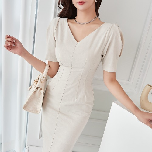 marlangrouge-브이넥핀턱미디원피스♡韓國女裝連身裙