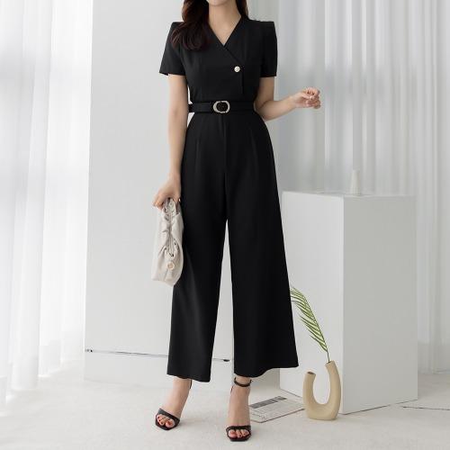 marlangrouge-모던와이드점프수트(벨트SET)♡韓國女裝褲