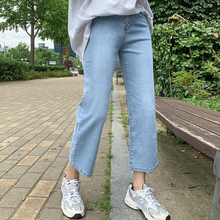 09women-[라놀 히든밴딩 8부 일자 데님 팬츠 60522]♡韓國女裝褲