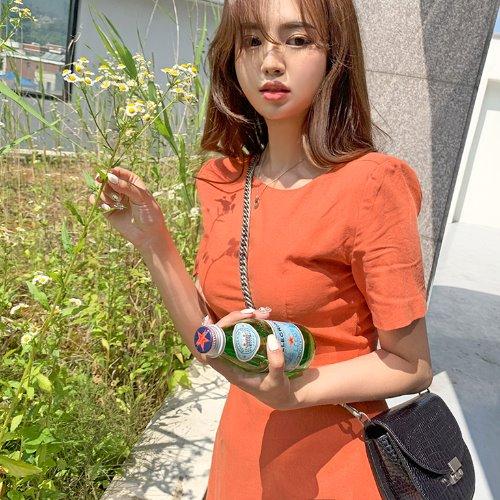 jnroh-(린넨) 델트 A핏 등브이넥 반팔 원피스 (오렌지,블루)♡韓國女裝連身裙