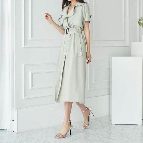 marlangrouge-뉴텔바바리롱원피스(벨트SET)♡韓國女裝連身裙