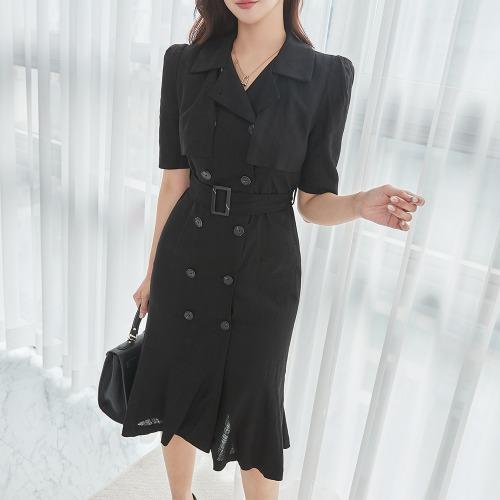 marlangrouge-린넨머메이드자켓형원피스(벨트SET)♡韓國女裝連身裙