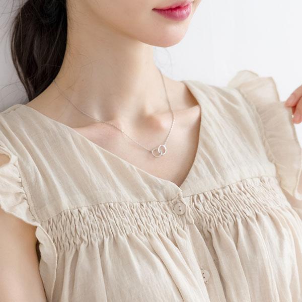 misscandy-[no.20764 더블링 미니체인 목걸이]♡韓國女裝飾品