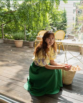 leelin-[튤립꽃  여리무드 린넨 플레어 스커트 [size:F(55~66)] ]♡韓國女裝裙