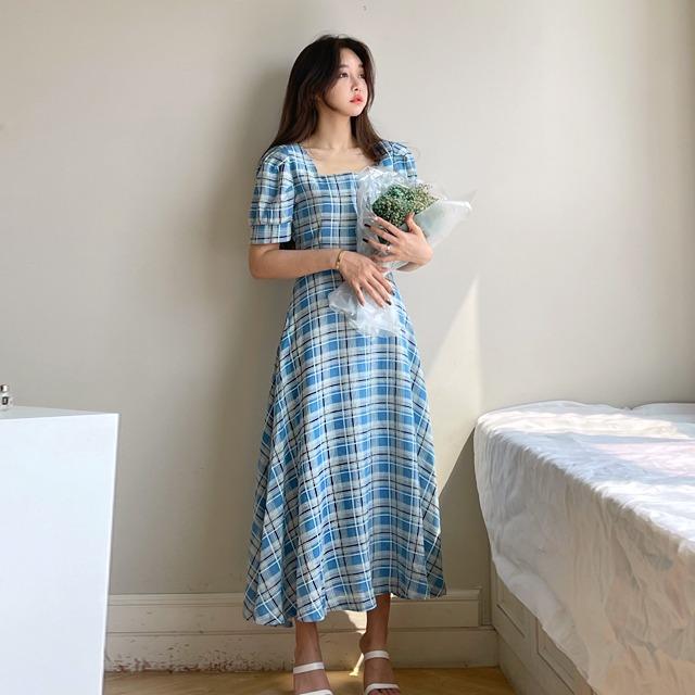 mybany-스퀘어플레어OPS♡韓國女裝連身裙