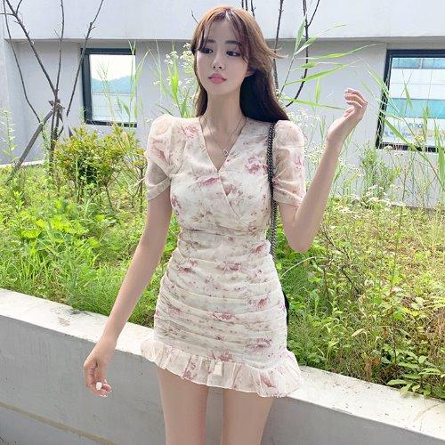 jnroh-벨링 플라워 브이랩 셔링 프릴 쉬폰 원피스 (핑크,소라)♡韓國女裝連身裙