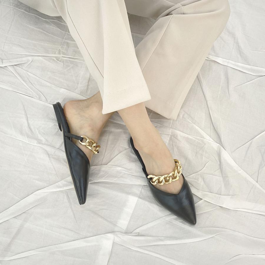 blancjo-골드 체인 앞코 뾰족 블로퍼_ss03992♡韓國女裝鞋