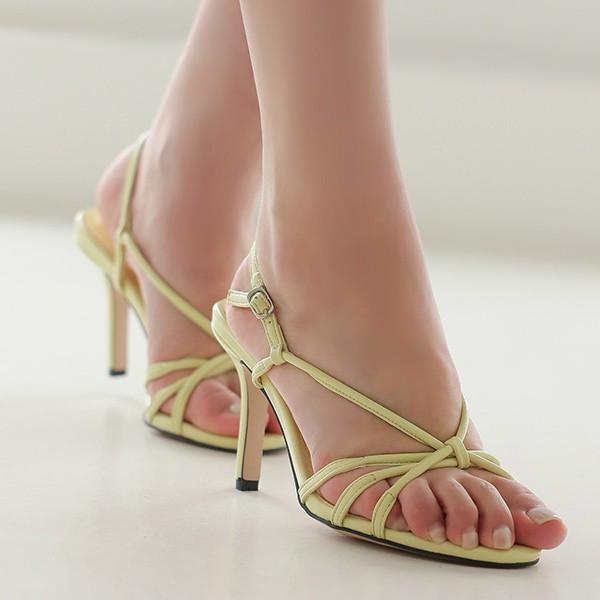 ode-[링클레더 트위스트 밴딩 스트랩 샌들힐]♡韓國女裝鞋